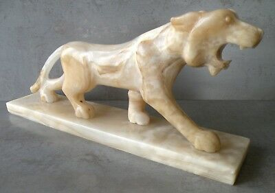 Vintage 8 lb. Carved Onyx PANTHER Figurine Statue
