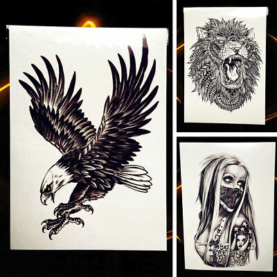 Gothic Africa Serengeti Lion Waterproof Body Temporary Tattoo Black Punk Sticker