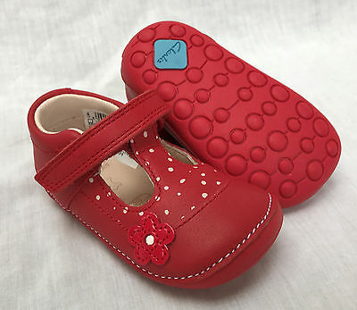 BNIB Clarks Girl Little Linzi Red Leather Cruising First Shoes E/F/G/H