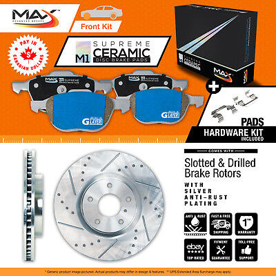 2011 2012 Ford Taurus (See Desc.) Silver Slot Drill Rotor M1 Ceramic Pads F