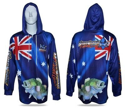 Australia Day Murray Cod Hooded Fishing Shirt Mens XS Up To 6XL + Kids 6,8,10,12