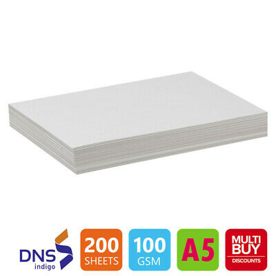 200 Sheets A5 LUXURY 100gsm ULTRA WHITE Paper High Quality Copier Printer Laser