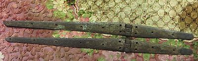 Architectural Salvage heavy Weight Door hinges Pair Hardware Forged Iron 1900