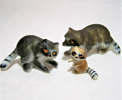 Vintage Japan Bone China Miniature Raccoon Family Bisque Finish Hand Painted 317