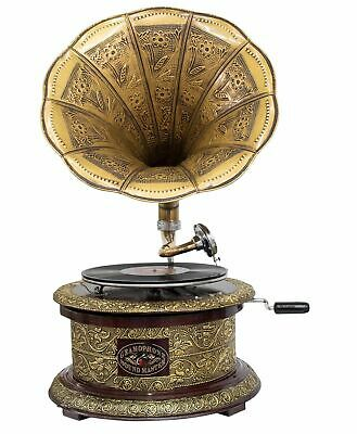 Antique style gramophone complete with horn round decorative wooden base (m2)