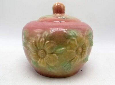 Vintage Hull Sunglow Pink Pottery Yellow Flower USA 53 Covered Grease Container