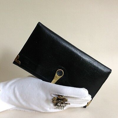 CARLO 1980s Black Textured Leather Vintage Purse Wallet Leather Fabric Lining