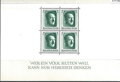 GERMANY 1937 Hitler's Culture fund miniature sheet unmounted - 89071