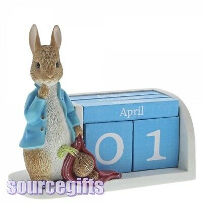 New * Perpetual Calendar * Peter Rabbit Beatrix Figurine Statue - A28346
