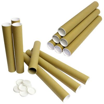 EXTRA Strong Postal Tubes Cardboard with White Plastic End Cap A4 / A3 / A2