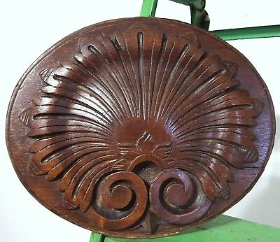 Hand Carved Wood Panel Antique French Gothic Rosace Salvaged Carving Ornament