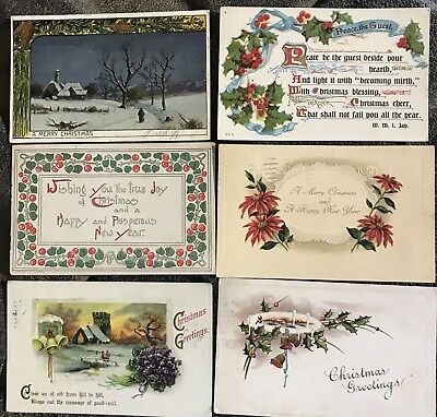 Vintage Postcard Lot Of 50 Christmas Holiday Embossed New Year