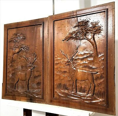 Pair Hand Carved Wood Panel Vintage French Hunting Scene Architectural Salvage