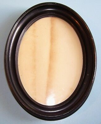 ANTIQUE Lt GEORGIAN MINIATURE TURNED EBONISED OVAL PICTURE FRAME OLD GLASS C1830