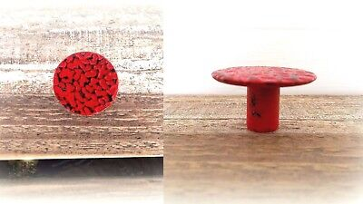 TWO Distressed RED Cabinet Knobs Drawer Door Rustic Pulls Handles Farmhouse