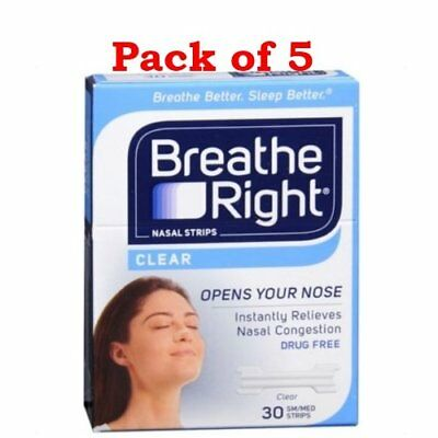 Breathe Right Small/Medium Sensitive Skin, Clear Nasal Strips, 30 Count (PACK 5)