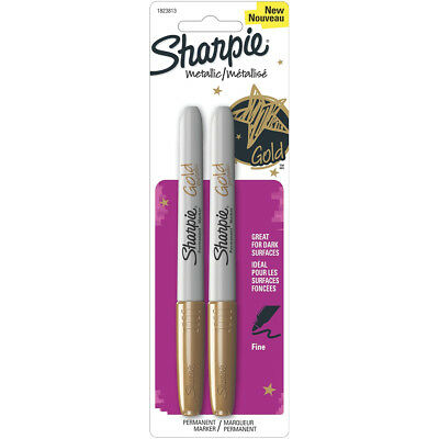 """Sharpie Metallic Permanent Markers, Fine Point, Gold Ink, 2/Pack"""