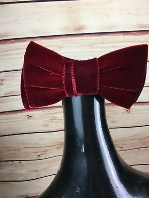 Vintage Women's Wine Red Velvet Bow with Hair Comb