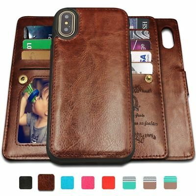 Detachable Leather wallet 9 Card Slots Case Cover Wrist Strap For iPhone XS 8 7