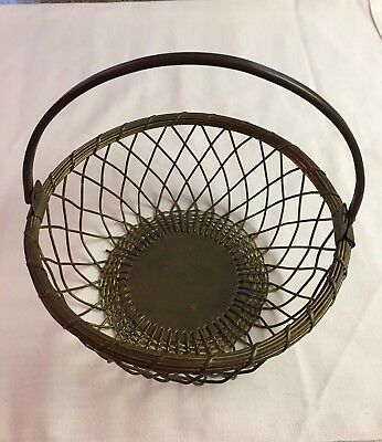 Vintage Brass Wire Basket with solid Handle.
