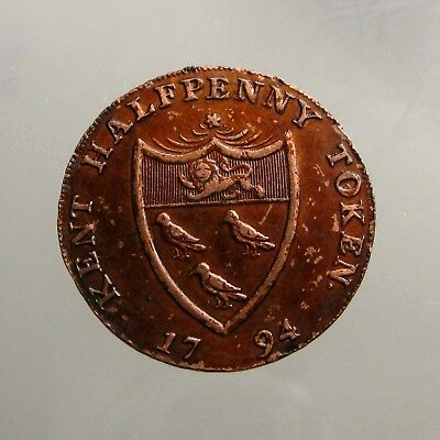 1794 KENT SUSSEX COPPER HALFPENNY___Britain Conder Token___FOR CHANGE NOT FRAUD