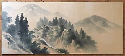 Beautiful Antique Japanese Landscape Painted In Ink & Color On Silk With Signed