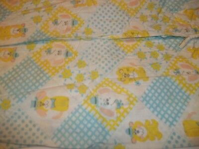 Vintage Baby Fitted Crib Sheet Lions and Teddy Bears yellow and blue
