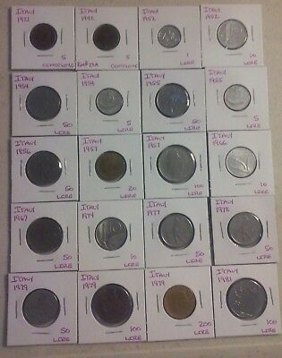 Italy  Coin Lot - (1921 to 1981) -20 Different Carded Coins - (#CWC346)