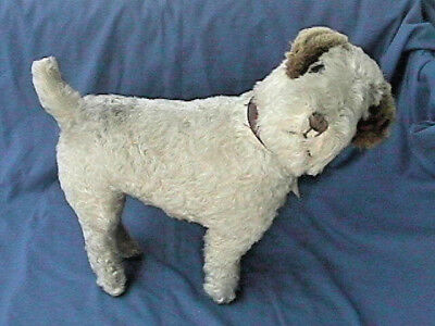 Vintage Airedale/fox/jack Russell Terrier Straw Mohair Knickerbocker Toy Co Usa