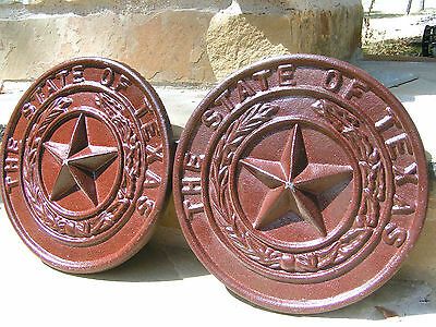 2 Cast iron State of Texas Star Seal Plaques