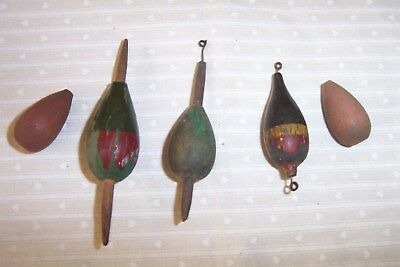 5 Antique, Vintage: Wood, Freshwater Fishing, Bobbers or Floats, Live Bait, Lure