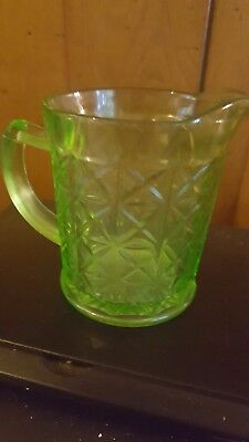 "Vintage Hazel Atlas Green Cut Glass Creamer Depression 4"" Tall"