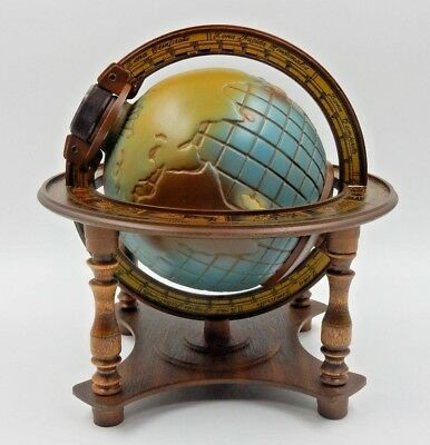 Vintage 1980 Jim Beam Full Color World Globe Decanter On Wooden Stand ~ Empty
