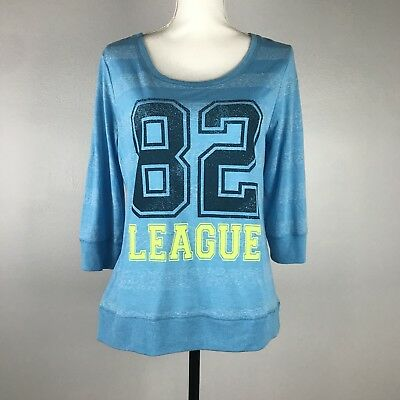Hard Candy girl's blue Tshirt 82 League 3/4 sleeves - Size XL