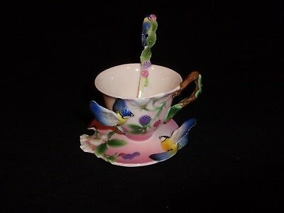 Franz cup saucer Macaw Parrot FZ00038 with spoon