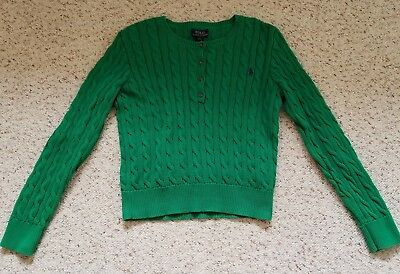 Polo Ralph Lauren Boys Green Cable Sweater Suede Elbows Size L (12-14)