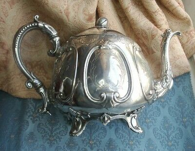 Old Vintage Antique English Silver Plated Teapot c.1860-70 Engraved Detail