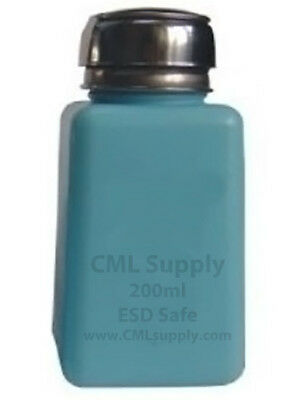 CML Supply Safety Pump Bottle, HDPE Stainless Steel ESD Safe 6oz 200ml Blue