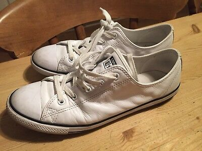 White Leather Women's Girls Converse Trainers shoes Uk 7