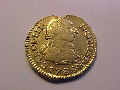 1788 SC Spain Gold Half Escudo Removed from Jewelry Still Cool Old Gold Coin