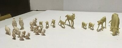 Vtg Lot Marx Happi Time Farm Animals Play Set Cows Chickens Rooster Lambs Pigs