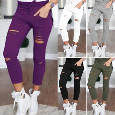 Damen Skinny Stretchy Ripped Hosen Leggings Treggings Freizeit Hochbund Leggins