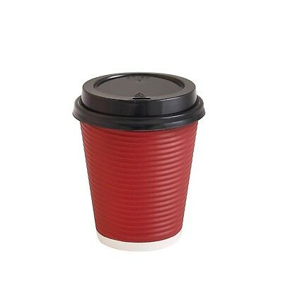 Paper Coffee Cups Disposable Insulated Hot Togo Cups with Lids 12 oz - Red
