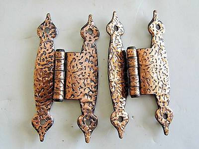 """10 Pairs Vintage Hammered Copper Hinges 3/8"""" Offset H Style Rustic Cabin"""
