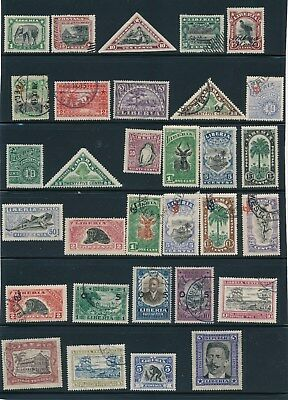 Liberia  **31 EARLY ISSUES (1906-1923)**; ALL SOUND; MH & USED; CV $66