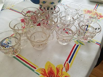 Vintage Indiana Clear Glass Punch Cups- Kings Crown Style-lot 11