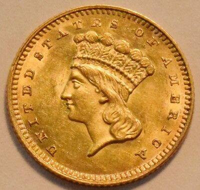 1862 G$1 Type 3 Indian Princess Gold One Dolllar, High Grade, Uncirculated Look