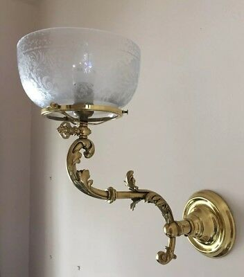 Antique Wall Sconce—Electrified Gas Long-Arm