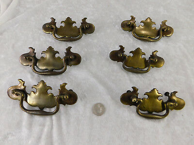 VTG Lot of 6 Brass Chippendale Batwing Drawer Pulls Handles  5 1/2