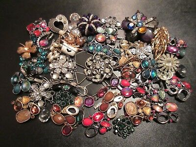 Lot of Broken Rhinestone & Other Vintage - Now Junk Jewelry Harvest or Craft Use
